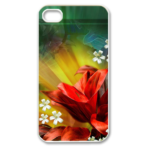 big red flower Case for iPhone 4,4S