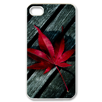 red maple leaf on the wood Case for iPhone 4,4S