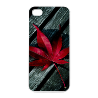 red maple leaf on the wood Charging Case for Iphone 4