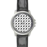 Black Leather Alloy High-grade Watch Model202
