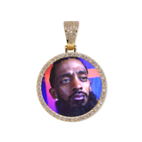 Round Gold Photo Pendant with Rope Chain