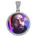 Round Silver Photo Pendant with Rope Chain