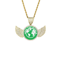 Wings Gold Photo Pendant with Rope Chain