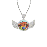 Wings Silver Photo Pendant with Rope Chain