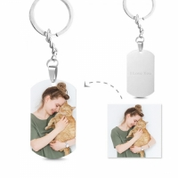 Engraved Stainless Steel Photo Dog Tag Keychain